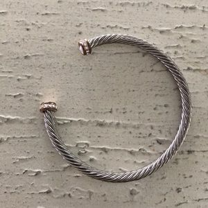 Cable cuff bracelet with rhinestones